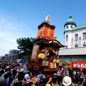 Float Being Pulled Down Main Street Of Kawagoe At The Kawagoe Festival (UNESCO World Heritage Site)