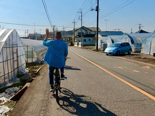 Cycling near strawberry green houses in Mashiko