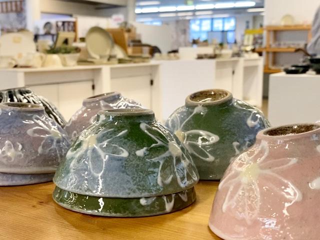 Some beautiful spring themed Mashiko pottery at Tsukamoto in Mashiko Japan