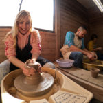Tourists having fun making Mashiko pottery in Furuki