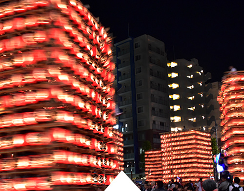 Traditional lantern floats at the Kuki Chouchin Festival nearby Tokyo