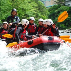 Visitors enjoying rafting and canyoning activities near tokyo