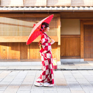 Enjoying Japanese history and culture in a beautiful traditional Japanese Kimono
